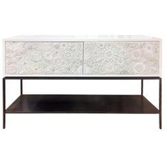 Customizable White Blossom Glass Mosaic Buffet with Metal Shelf by Ercole Home
