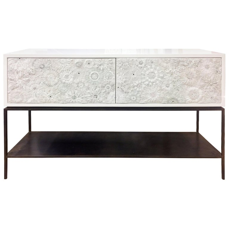 Customizable White Blossom Glass Mosaic Buffet with Metal Shelf by Ercole Home For Sale