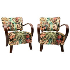 Pair of 1930s Czech Armchairs H237 Jindrich Halabala Restored and Reupholstered