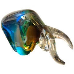 Sommerso Murano Glass Sculpture of a Bull attributed to Seguso, Italy, 1970