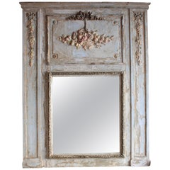 Large 19th Century French Louis XVI Syle Polychromed Trumeau Mirror