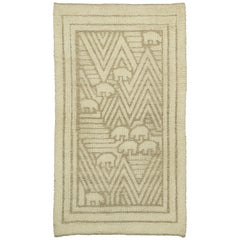 """Bjornarna"" Vintage Swedish Pile and Flat-Weave Rug"