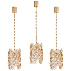 One of Three Palwa Gilded Brass and Crystal Glass Encrusted Pendant Lamps
