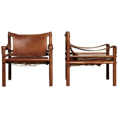 Stunning Pair of Arne Norell Safari Sirocco Chairs, Sweden, 1960s