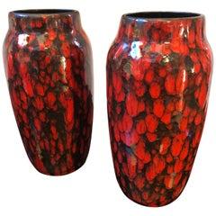 Set of Two Red and Black Lava Keramik German Vases, circa 1970