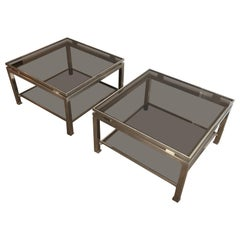 Pair of Brushed Steel Side Tables with Smoked Glass by Guy Lefèvre