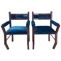 Purple Heart Brass Wood Dining Chair with Blue Velvet Upholstery