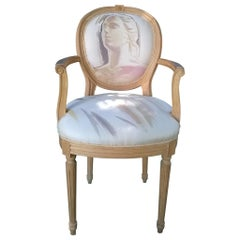 Louis XVI Armchair 20th Century, Painted by the Artist Kriss Dubini Guenzati