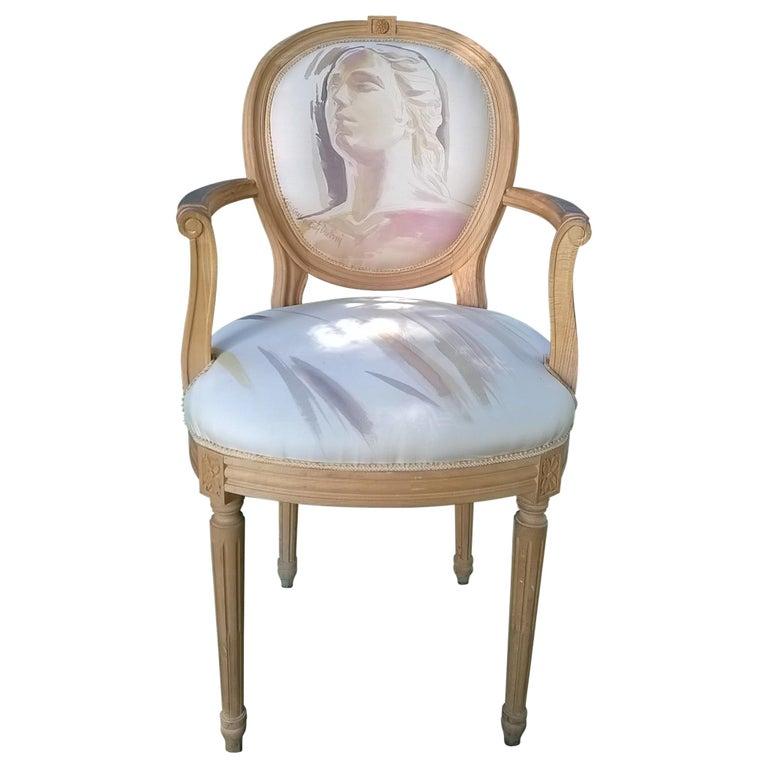 Louis XVI Armchair 20th Century, Painted by the Artist Kriss Dubini Guenzati For Sale
