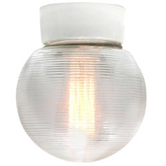 German Porcelain Vintage Industrial Holophane Glass Wall Lamps Sconces (18x)