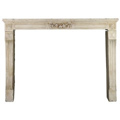 18th Century French Limestone Country Antique Fireplace Surround