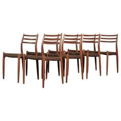 Stunning Set of Eight Niels O Møller Model 78 Dining Chairs, Denmark, 1960s
