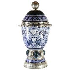 Ceramic and White Metal 'Alpaca' Jar with cherubs