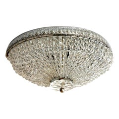 Pair of Beaded Crystal Flush Mount Fixtures, Sold Individually