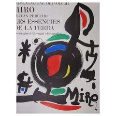 """Joan Miró """"Les Essències de la Terra"""" Poster from 1969 in Milan, Italy"""