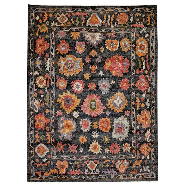 Black Pink Orange Contemporary Handmade Wool Turkish Oushak Rug