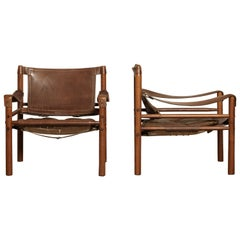 Pair of Arne Norell Sirocco Safari Chairs, Norell Mobel, Sweden, 1970s