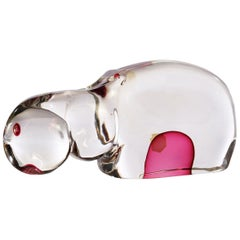 Murano Antonio da Ros Cenedese Submerged Glass Hippo