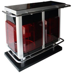 Midcentury Modern Rectangular Red Perplex Metal Chrome Italian Bar Cabinet, 1970