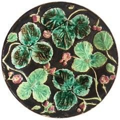 English Majolica Strawberry Plate, circa 1880