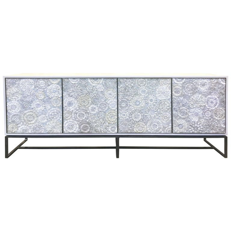 Customizable White Blossom Glass Mosaic Buffet with Metal Base by Ercole Home For Sale
