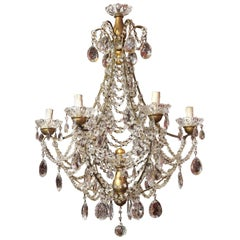 19th Century Italian Cut Crystal Beaded Gilt Iron Bird Cage Structure Chandelier
