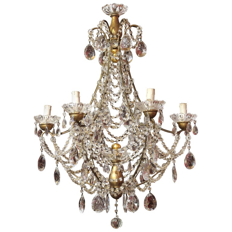 19th Century Italian Cut Crystal Beaded Gilt Iron Bird Cage Structure Chandelier For Sale