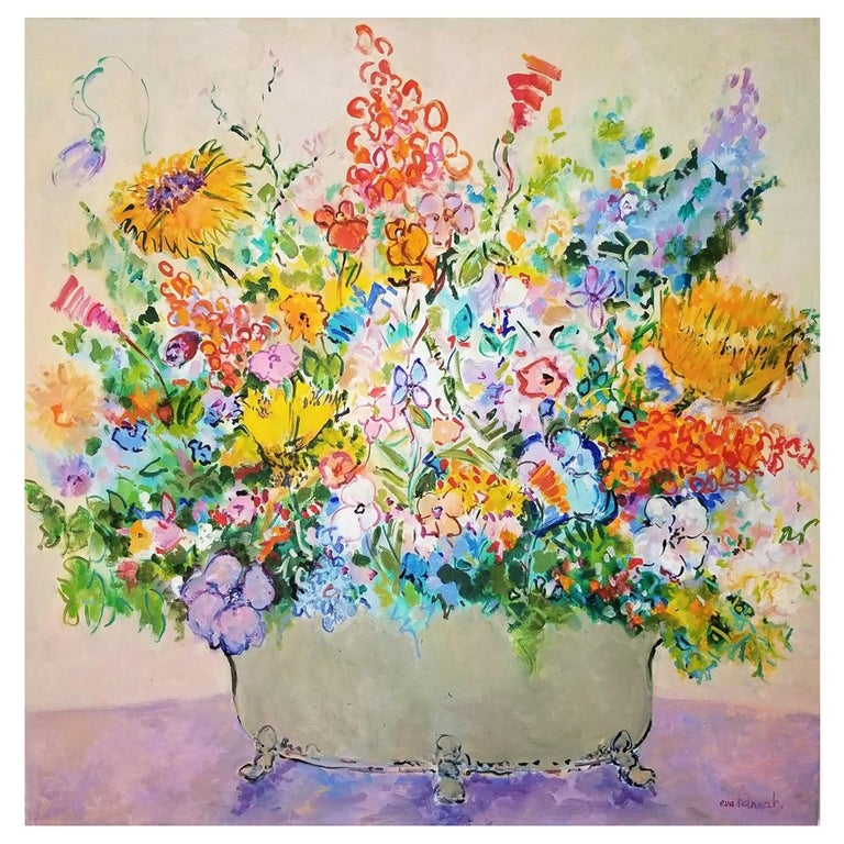 """Spring Flowers"" Oil on Canvas by Artist Eva Hannah, Signed 2018 For Sale"