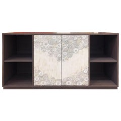Customizable White Blossom Glass Mosaic Buffet with Platform Base by Ercole Home