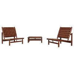 Ilmari Tapiovaara Chairs and Ottoman, Finland or Italy, 1950s