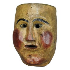 Antique Wooden Carved and Painted Tyrolian Carnival Mask