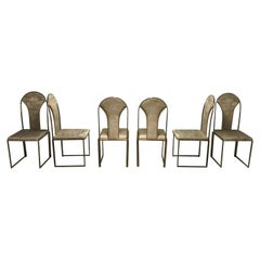Vintage Brass Dining Chairs by Belgo Chrome, 1970s, Set of Six