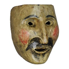 Wooden Carved Folksy Carnival Fasnet Mask, South Tyrol, circa 1900
