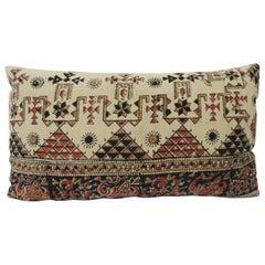 Vintage Persian Hand-Blocked Kalamkari Lumbar Decorative Throw Pillow