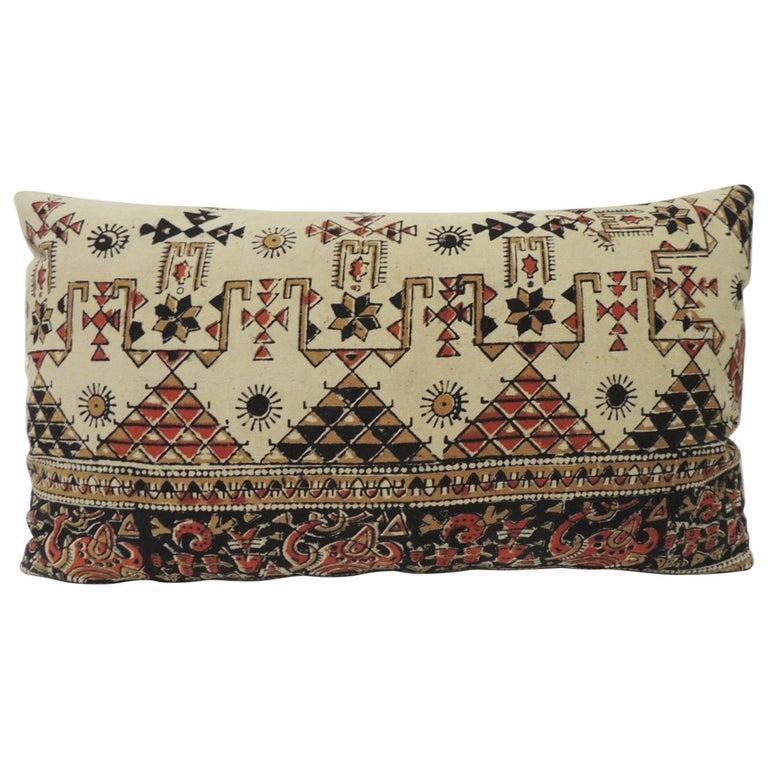 Vintage Persian Hand-Blocked Kalamkari Lumbar Decorative Throw Pillow For Sale