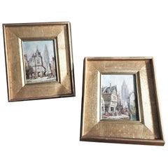 Henry Thomas Schäfer, a Pair of Oil on Canvas Architectural Paintings circa 1880