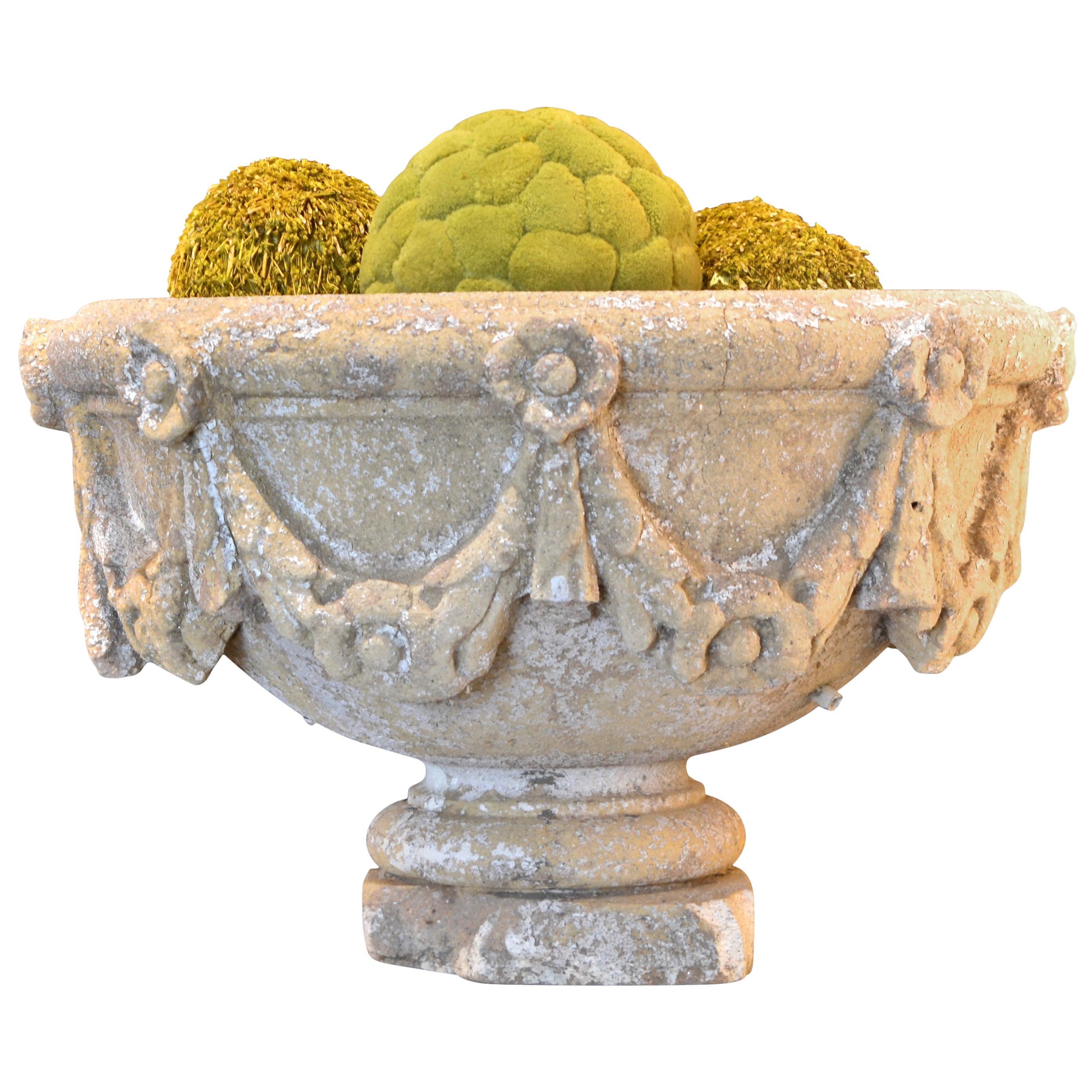 Swag Decorated Garden Urn