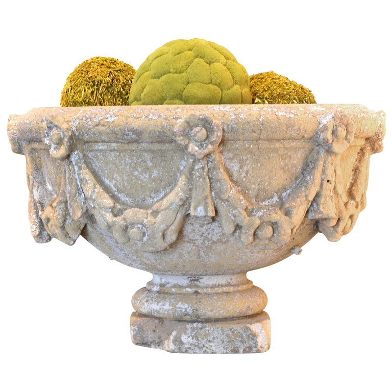 Swag Decorated Garden Urn For Sale
