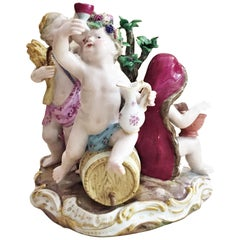 Meissen, Four Seasons, Figurative Porcelain Group, 19 Century