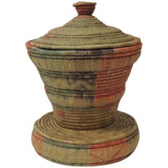 Vintage Colorful African Round Basket with Lid