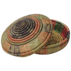 Vintage Colorful Round Lidded African Basket