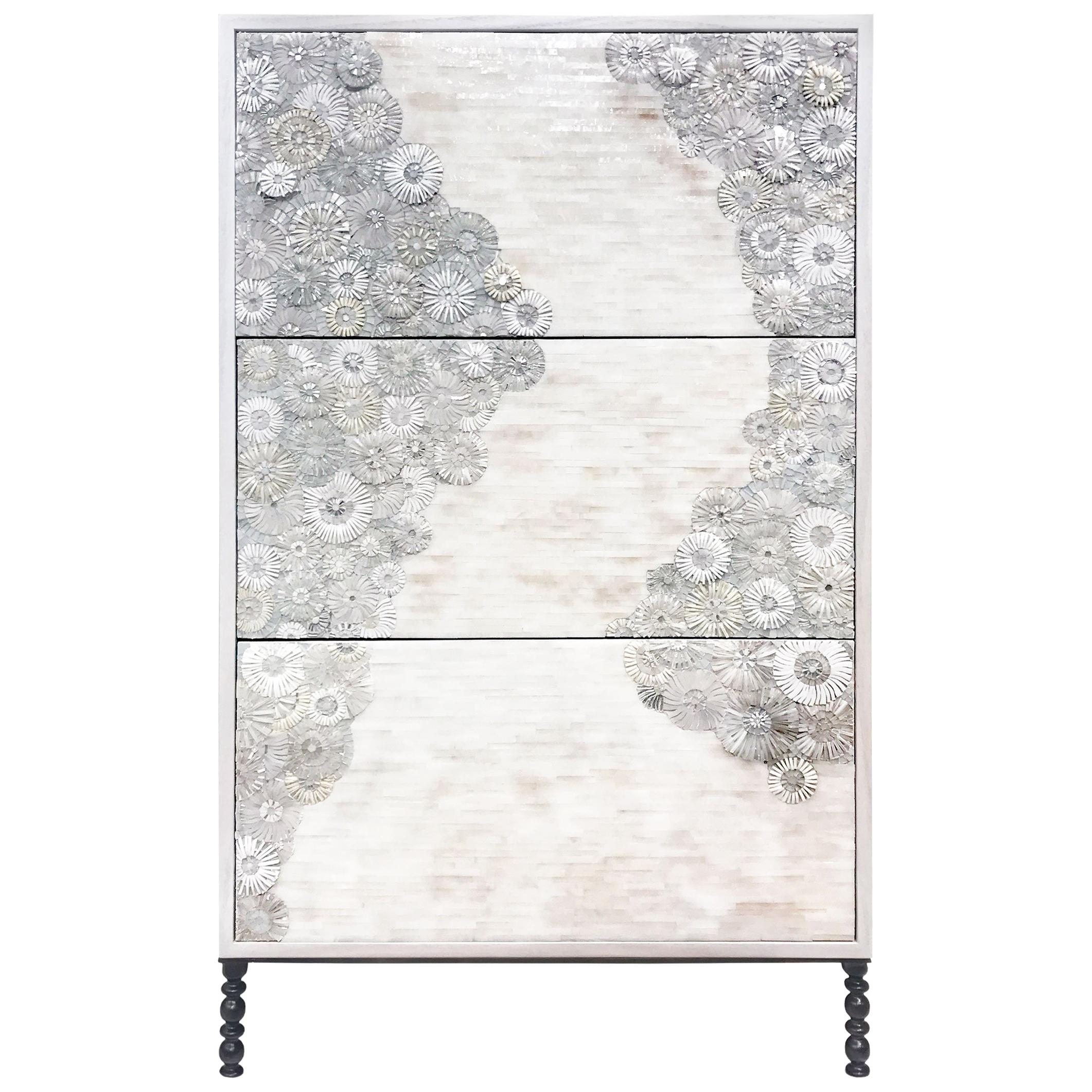 Customizable White Blossom Glass Mosaic Chest with Metal Base by Ercole Home