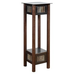 Steel Pedestal, Welded Steel and Found Galvanized Steel Square Top with Shelf