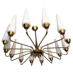 X-Large French Midcentury Starburst Chandelier with 14 White Satin Glass, 1950s