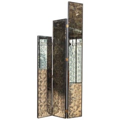 Midcentury Double-Sided Tall Glam Mirror Folding Screen or Room Divider, 1970s