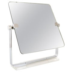 Vintage Mid-Century Modern Chrome and Lucite Adjustable Tabletop Vanity Mirror