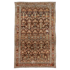 Antique Brown Persian Malayer Wool Rug