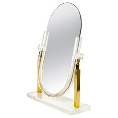 Vintage Charles Hollis Jones Style Brass and Lucite Tabletop Mirror