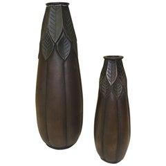 Pair of Metal Lotus Bronze Finish Vases