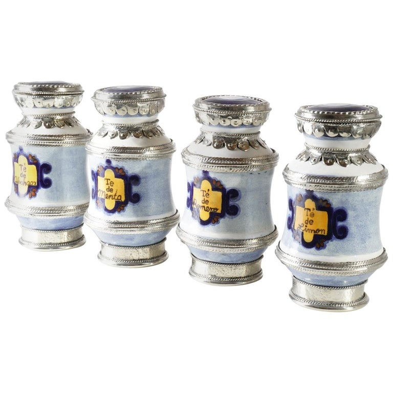 Ceramic and White Metal 'Alpaca' Set of  4 Pharmacy Jars For Sale